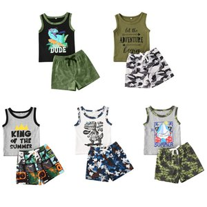 Summer Beach Outfits for 0-24M Baby Boy Clothes Cartoon Letter Print Vest Sleeveless Tops+ Camo Shorts 2Pcs Suits