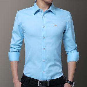 2019 nuovi uomini di marca casual primavera camicette in cotone 100% Harmont Slim Fit manica lunga Blaine Solid ricamo camicie 6 colori Drop Shipping