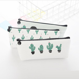 Partysu Pencil Bag Creative Cactus Canvas Pencil Case Triangle Models Octagon Section Large Capacity Stationery Bag