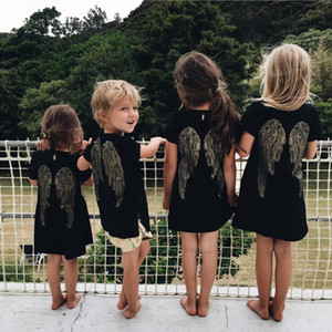 2019 Summer New Children Embroidery Wings Dress T-shirt Kids Short Sleeve Angel Wings T-shirts Dresses INS Boys Girls Clothes 80-140cm