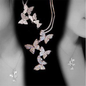 Gioielli di moda classica di nuovo arrivo 925 SilverRose oro Riempire Pave bianco zaffiro della CZ diamante farfalla pendente Donne