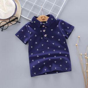 Summer children's clothing new anchor printing little boy children short-sleeved Korean T-shirt children's clothing explosion mode