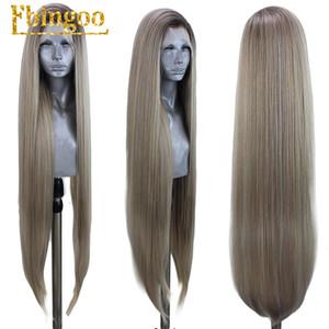 Sintetico Ebingoo Ombre Biondo Cenere Rosso merletto della parte anteriore della parrucca lungo rettilineo fibra termoresistente di parrucca di capelli per le donne