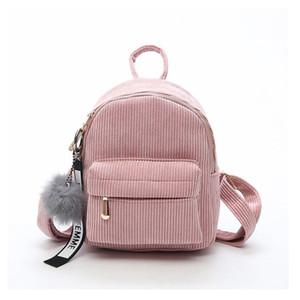 Frauen Mini Corduroy Rucksack kleine nette Schulranzen mit Fuzzy-Ball Damen Schultertaschen Weiblicher Reisetasche Rucksack