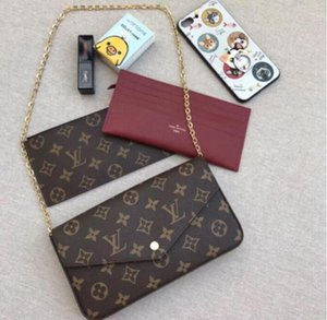 2020 new women handbag chain bag three-piece flower bag ladies PVC leather shoulder bags classic wallet card holder purse bag