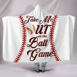 Basketball Baseball Football Rugby Pattern 3D Printed Plush Hooded Blanket for Men Wearable Soft Fleece Throw Blankets