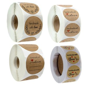 """500pcs Roll Handmade with Love Stickers Kraft Paper Seal Label 1"""" Craft Project Envelope Invitation Card Wedding Gift Decor Event Party"""