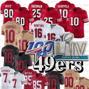 Jimmy Garoppolo 10 Jersey Joe Montana Richard Sherman Jerry Rice Deebo Samuel George Kittle Nick Bosa 7 Colin Kaepernick Maillots de football