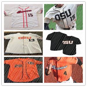 Magliette da baseball Custom Oregon State Beavers College 3 Nick Madrigal 11 Trevor Larnach Camicia cucita arancione nero bianco SIze S-4XL