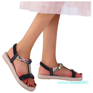 Crystal T-type Printed Sandal for woman flower Elastic Band Peep Toe Flat With Sandals Shoes Woman Zapatos De Mujer 2020 l02
