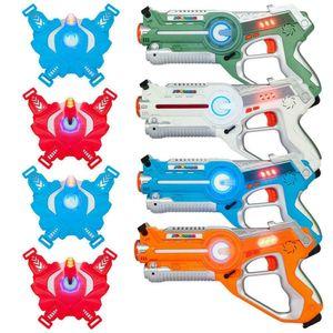 Pack de 4 cañones laser tag y Chalecos Blasters - láser infrarrojo juego de batallas 0.9mW