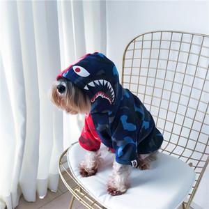 Pet Joint Tubarão Azul Vermelho Hoodies Popular Logotipos roupas para pets gato Teddy Schnauzer do filhote de cachorro Outono Inverno Estilo Escova Hoodies