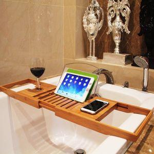 Extensible plataforma de baño Bañera Plato de ducha de hidromasaje baño de bambú de toallas Vino libro de almacenamiento de titular Accesorios Organización