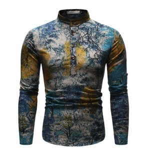 Pittura stili Homme Tops stili etnici Mens Shirt Notte stellata Stampa Mens vestiti casuali Oil