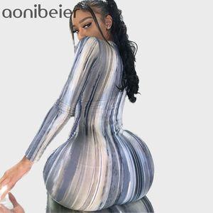 Aonibeier Primavera Autum Mulheres manga comprida vestido maxi profunda V Neck Tie Dye Bodycon Ankle Comprimento do vestido do laço cintura Long