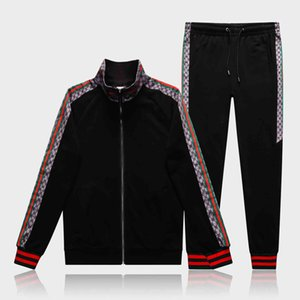 M-3XL Italy Designers Mens Tracksuit Letter Casual Suits Hoodies + Pants Spring Autumn Zipper Kits Sports Running Tracksuit Black Gray