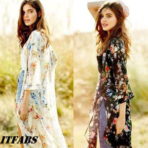 Brand New Top Frauen Chiffon-Schal Kimono gedruckte Schwarz Cardigan Tops Smock Strand beiläufig Vertuschung Weiße Bluse Bademode
