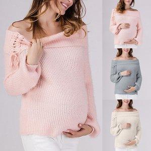 출산 스웨터 아크릴 솔리드 컬러 슬래시 넥 레이스 스웨터 긴 소매 슬림 피트 느슨한 서양 캐주얼 50