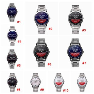 Trump 2020 Quartz Watch Silvery Stainless Steel Watchband Donald Trump Women Men Retro Wrist Watches Clock Party Favor LJJA4142