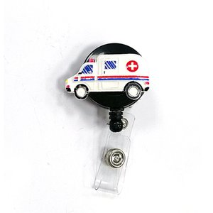 10 pz / lotto vendita calda di alta qualità smalto medico ambulanza emt infermiere e medico decorativo retrattile ID Badge Holder reel per il regalo