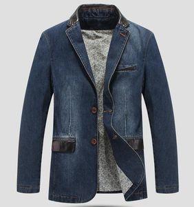 New Men Blazer Jacket Casual Denim Blazer Men Suit Tamanho Vestuário Denim terno M-4XL