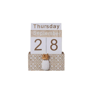 Pineapple Cactus Perpetual Desk Calendar Vintage Wooden Block Calendar Month Week Date Blocks for Home Office Store Decoration
