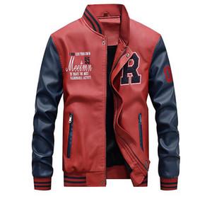 Fashion Men Designer Jacke Herbst und Winter PU-Leder Herren Jacke Mäntel beiläufige Art Foe Male Outdoor Sports Jacke Kleidung Asiatische Größe