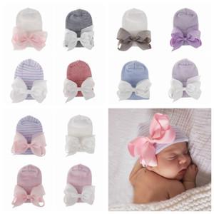 12 style Newborn Big Bow Hats Baby Crochet Knit Caps Infant Skull Beanie Winter Warm Striped Ribbon Bowknot Tire Cap Hospital Hat RRA2222