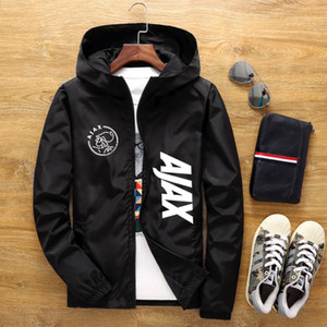 2020 Весна бомбардировщик куртка с капюшоном мужчины аниме AJAX печати повседневная тонкий молния тонкий лоскутное ветровка куртка мужской пиджаки M-6XL