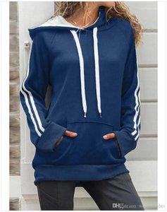 Sólido Designer solta Big Pocket Color Womens Hoodies Casual fêmeas roupa listrada Painéis Womens Hoodies Moda