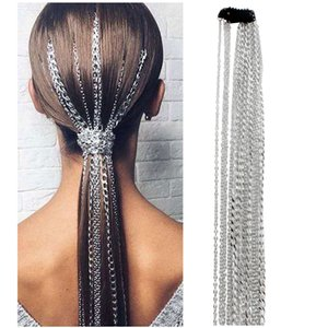 De manera simple de plata cadena de extensión peluca de pelo con flecos cadena europeas y la cadena americana cabeza BB clip de cadenas para el cabello