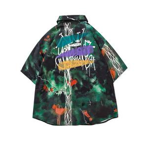 Graffiti camisas de Verão Havai homens e mulheres camisas de lapela de Manga Curta simples Camisolas de manga comprida simples