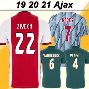 19 20 21 Ajax ZIYECH TADIC Mens Futebol NERES de Ligt Dolberg vermelhos Away Home camisas do futebol Fardas New HUNTELAAR DE JONG curtas
