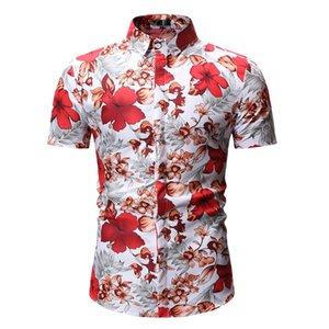 Erkek Casual Gömlek Erkekler Gömlek Yaz Çiçek Plaj Hawaiian Kısa Kollu Hawaii Kayma Elbise Asya Boyutu