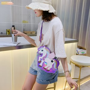 2020 패션 꿈의 유니콘 장식 조각 푸 레이저 여자 지갑 어깨 가방 토트 크로스 바디 메신저 가방 여성 플랩 볼사 핸드백