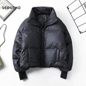 SEDUTMO الشتاء المرأة بطة أسفل الستر معطف كبير جدا الأسود القصير السمكة المنتفخة سترات عادية الخريف ستر ED916