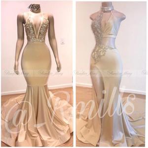 New Sexy Halter Backless Dividir sereia preto Meninas Prom Dresses 2020 Vestidos de festa de noche graduação Longo Africano Gala Vestido BC3611