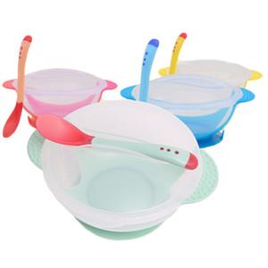 Bébé d'alimentation bol + cuillère Set Cartoon alimentation Vaisselle bébé pour les enfants Vaisselle Plate Dîner de formation anti-chaud de l'alimentation Outils