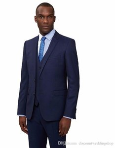 High Quality Navy Blue Man Work Business Suit Wedding Groom Tuxedos Prom Dress Mens Suits (Jacket+Pants+Vest+Tie) J155