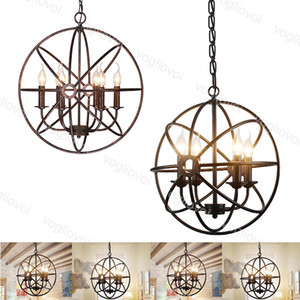 Pendentif Lampes Retro Black Globe E14 DI40CM ROUGE ROUNT 4HIÈGES Suspendues 110V 220V pour le café Sangle Suspension Suspension DHL