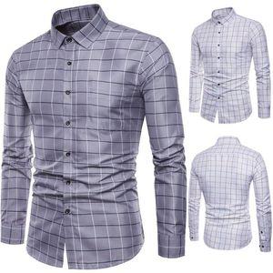 Мужская рубашка с длинным рукавом рубашки мужские с длинным рукавом Oxford Формальное вскользь плед Slim Fit рубашки платья Top мужские рубашки сорочки Ьотте М-5XL