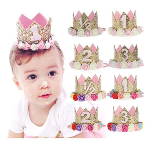 Baby Birthday Crown Toddler Flower Crown Headbands Girls Birthday Party Tiara Hairbands Kids Princess Glitter Hair Accessories