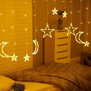 3.5M 220V LED Moon Star Lamp Christmas Garland String lights Fairy Curtain light Outdoor For Holiday Wedding Party Decoration Y200603