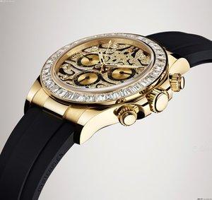 Alto Reloj Homens Designer Qualidade Relógios Militar Automático Todos os Trabalhos Montre Famoso Assista Mens de Luxo 116588 Homens de Luxe Gold TBR suíço