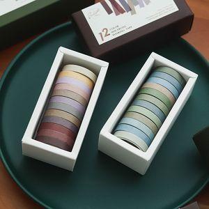 12pcs bandes de papier couleur à la main bricolage décoratif Washi Ruban Morandi couleur Washitape Scrapbooking fita adesiva Outils scolaires T200229 2016