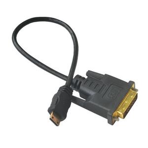 30 cm chapado en oro Mini HDMI macho a DVI 24 + 1 pin Adaptador macho Cable cable convertidor PC LCD HD TV
