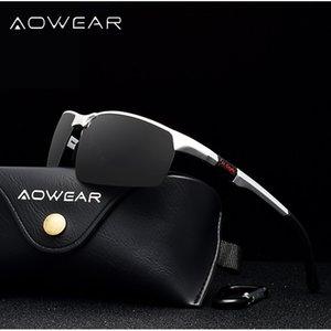 AOWEAR Marka Tasarımcısı Çerçevesiz Güneş Erkekler Porlarized Alüminyum Spor Güneş Gözlükleri Erkek Açık Sürüş Gözlük gafas