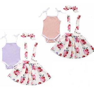 Baby Girls Slip barboteuses Jupes jarretelle Bandeau Ensembles Vêtements enfants Glissé Top imprimé floral Robes bowknot Hairband Costumes CYP626