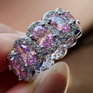 Super Deal Meistverkaufte Atemberaubende Liebhaber Schmuck 925 Sterling Silber Oval Cut Rosa Topas CZ Diamant Ewigkeit Ehering Ring für Frauen Geschenk