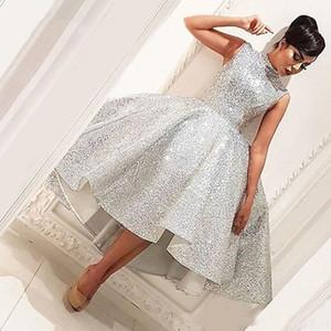 Bling muçulmana Evening Dresses 2019 vestido de baile Comprimento Chá Seuqins islâmica Dubai Arábia árabes vestidos de noite formal vestido Prom Dress